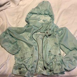 Free People sea foam rain jacket